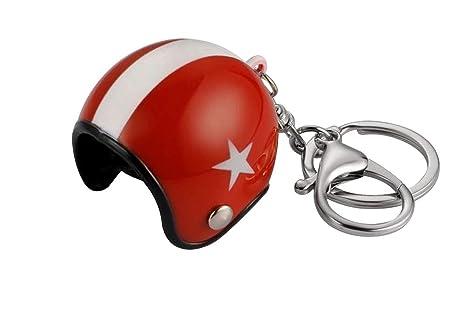 Gran llavero joyas de bolsa casco Moto rojo y blanco ...