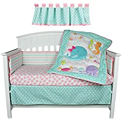Sea Sweeties Pink and Blue Ocean 5 Piece Baby Girl Crib Bedding with Bumper For Girls by Belle