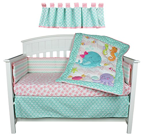 Sea Sweeties Pink and Blue Ocean 5 Piece Baby Girl Crib Bedding with Bumper by Belle by Belle