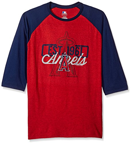 MLB Los Angeles Angels Men's Victory is Near Tee, Large, Athletic Red Pepper Heather/Athletic Navy