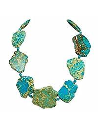 "Ny6design Blue Jasper Nugget Silver Tone Clasp Necklace 22.5"" N16110904h"