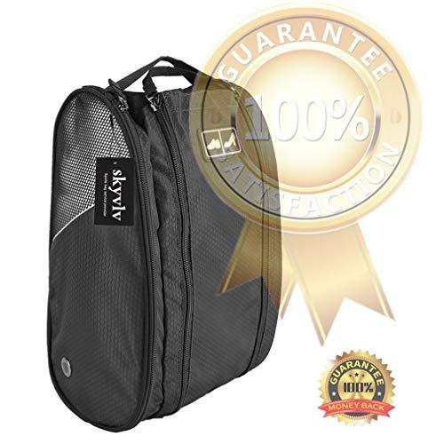Golf Shoe Bag Travel Sport Gym Yoqa Sock Organizer Odor Resistant Large Zipper Space Shoe's Bag for Men and Women (Black) by skyvlv (Image #5)