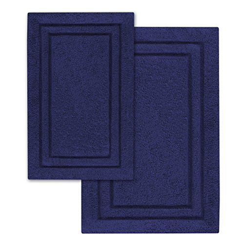 Superior 2-Pack Bath Rugs, Premium 100% Combed Cotton with Non-Slip Backing, Soft, Plush, Fast Drying and Absorbent - Navy Blue, 20 x 30 and 24 x 36 Bath Mat Set