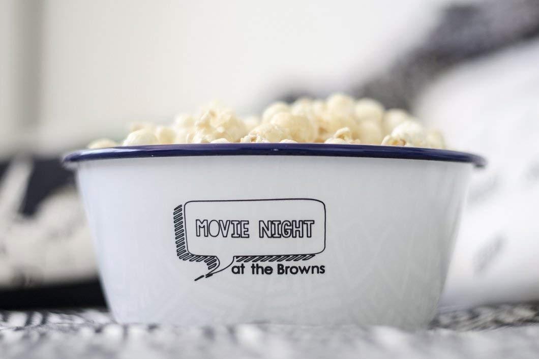 Film Movie Laser Engraved Bowl Personalised Enamel Bowl Personalised Movie Classic Popcorn Night Enamel Bowl Personalised Enamel