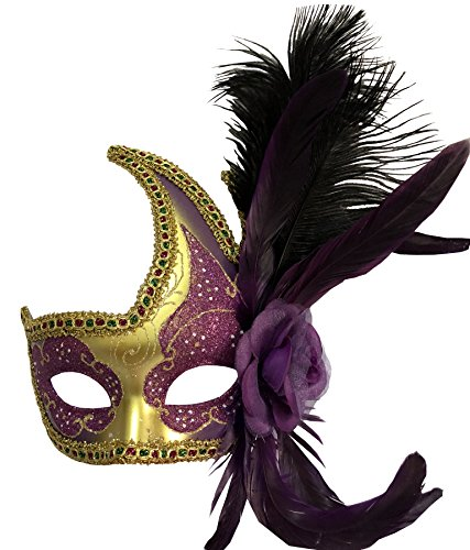 - Sheliky Costume Mask Feather Masquerade Mask Halloween Mardi Gras Cosplay Party Masque (001purple)