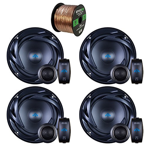 4 x Autotek ATS65C ATS Car Audio Speakers 6.5 Inch Equipted With Neo-Mylar Soft Dome Tweeter Bundle With Enrock 50ft 16g Speaker (Mylar Bundle)