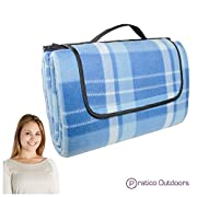 Extra Large Picnic & Outdoor Blanket with Water-Resistant Backing - Blue 60 x 80 inches