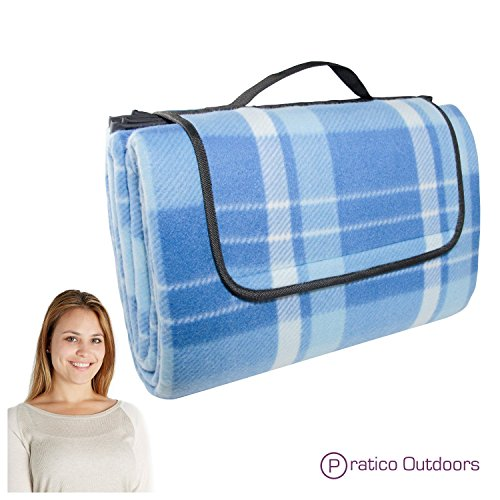 - Extra Large Picnic & Outdoor Blanket with Water-Resistant Backing - Blue 60 x 80 inches