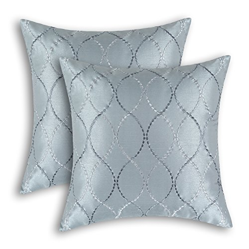 (CaliTime Pack of 2 Cushion Covers Throw Pillow Cases Shells for Home Sofa Couch Modern Waves Lines Embroidered 18 X 18 Inches Gray)