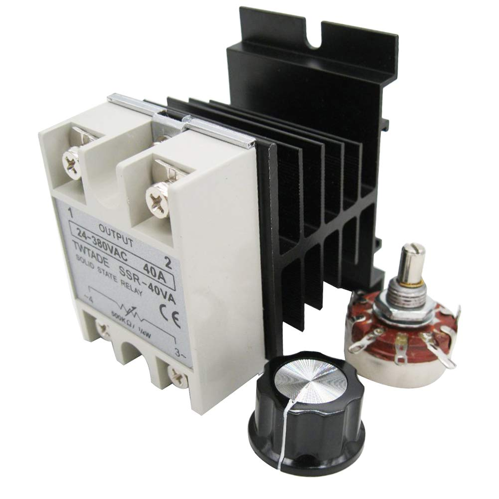 TWTADE SSR-40VA 500K ohm 1/4W to 24-380VAC 40A Single Phase Solid State Relay Resistance Voltage Regulator Authorized+Heat Sink+potentiometer+A knob
