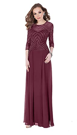 af5c0af0239 Terani Couture 3 4 Sleeve Beaded Top Long Dress at Amazon Women s ...