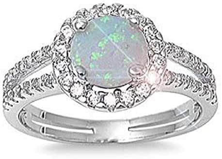 ALL NATURAL GEMSTONE 6mm 1.15ctw Sterling Silver OCTOBER MYSTIC FIRE WHITE OPAL ROUND BIRTHSTONE Ring 5-10