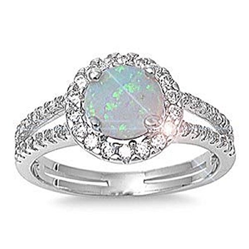 ALL NATURAL GENUINE GEMSTONE- 6mm 1.15ctw Sterling Silver Solitaire OCTOBER MYSTIC FIRE WHITE OPAL ROUND BIRTHSTONE Channel Band Pave Cz Accents Ring 5-10 (10) (6)