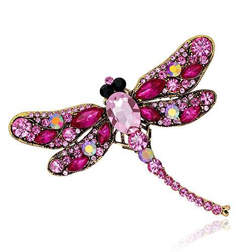 Grtdrm Created Rhinestone Crystal Brooch, Pretty Dragonfly Fashion Pin Gift for Women Girls (Rosy) ()