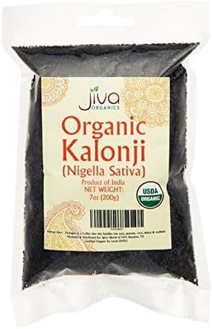 Organic Kalonji Seeds 7oz - Whole Black Seed, Nigella Sativa, Black Cumin - by Jiva Organics
