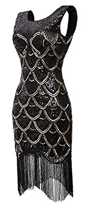 QNPRT 1920s Flapper Dress Sequin Mermaid Evening Prom Dresses V-Back Beads for Womens