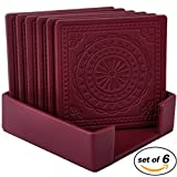 Drink Coasters, 6 Pack Pu Leather Place Mat for Beverage Drinks (Winered)