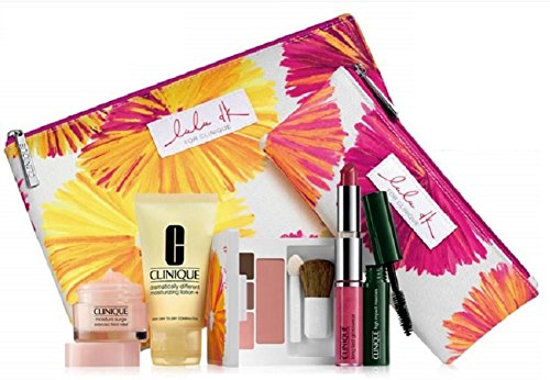 NEW Clinique Skin Care Makeup 7 Pc Gift Set Travel Size with Lulu Dk Makeup Bag