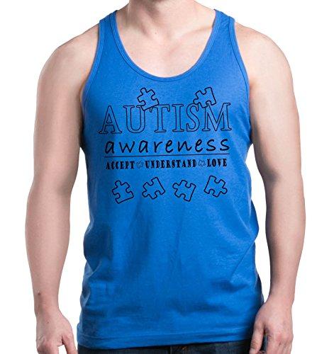 Shop4Ever Accept Understand Love Men's Tank Top Autism Awareness Tank Tops X-Large Royal Blue 0 (Awareness Tank)