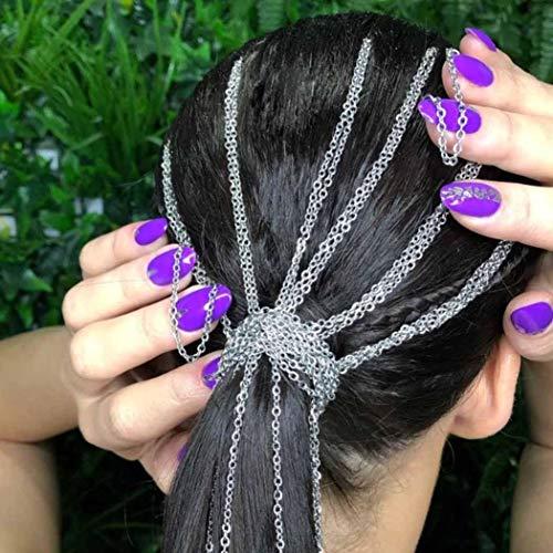 Nicute Fashion Dreadlocks Braided Hair Chains Headpieces Hiphop Hair Accessories for Women and Girls (Silver)