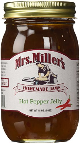 Mrs. Miller's Amish Homemade Hot Pepper Jelly - 18 oz (2 JARS)- Sweet & Spicy - Great (Pineapple Cream Cheese)