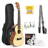 Concert Ukulele Solid Spruce Electric Acoustic 23 inch Ukelele Guitar Uke Kit With Strap Tuner String Gig Bag Instruction Booklet for Beginner