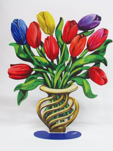 David Gerstein Metal Modern Art Sculpture ornament Tulips Flower Vase (David Metal Vase)