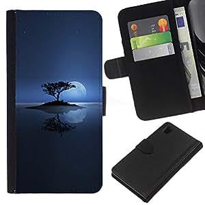 LECELL--Cuero de la tarjeta la carpeta del tirón Smartphone Slots Protección Holder For Sony Xperia Z1 L39 -- Solitaria Moon Lake --