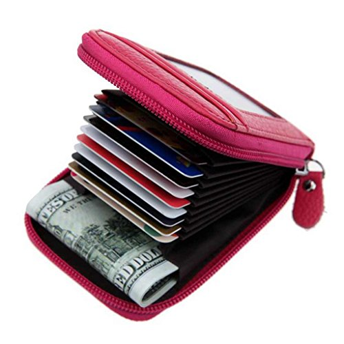 Black Friday Deals Cyber Monday Deals Week 2018-Compact Leather Holder Wallet Keychain Key Ring Women Men Key Pouch Wallet with ID Window (Rose)]()