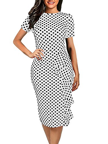 oxiuly Women's Casual Polka Dot Short Sleeve Round Neck Work Business Pencil Dress OX055 (L, White)