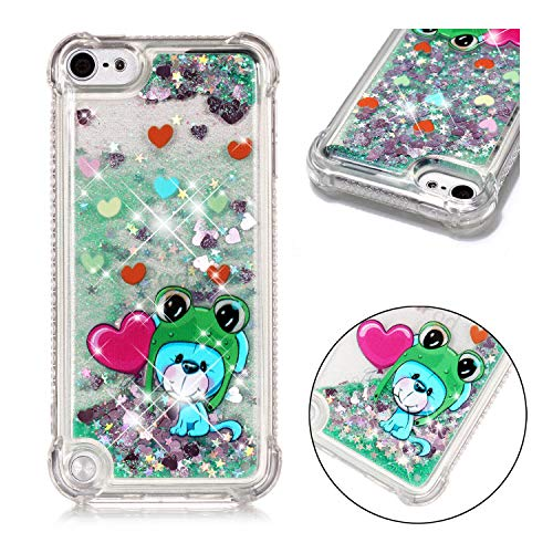 DAMONDY iPod Touch 6,iPod Touch 5, 3D Cute Animal Pattern Bling Liquid Glitter Hybrid Heavy Duty Shockproof Bumper Floating Quicksand Diamond Flowing Soft TPU Case for iPod Touch 5/6th-frog