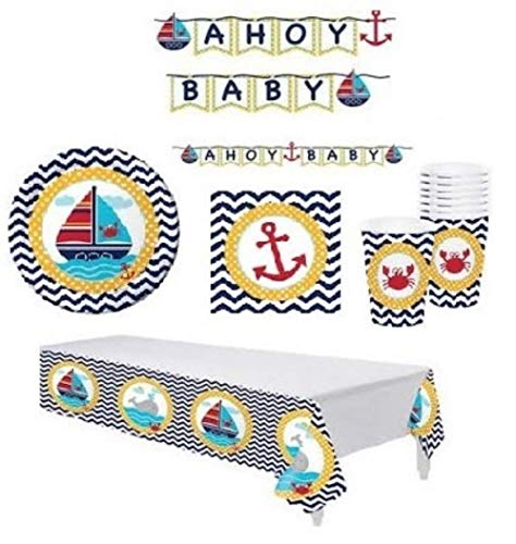 Nautical Baby Shower Supplies Decorations Set Including: Plates, Napkins, Cups, Table Cover and Banner -