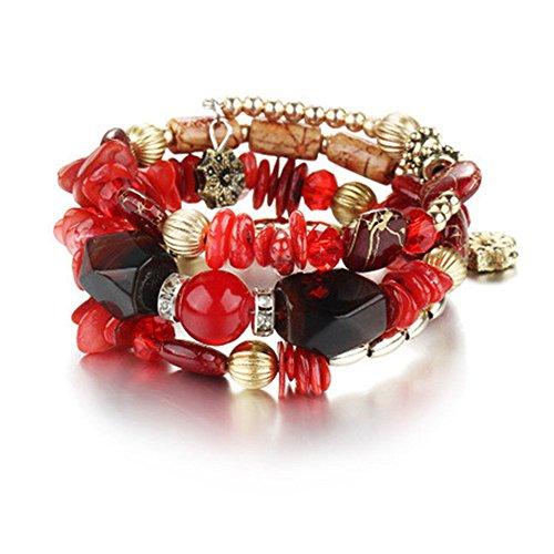 Multilayer Bohemian Beaded Bracelet Crystal Pendant Charm Stretch Beach Bangle Bracelet Set Jewelry from LOVFASHION