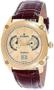Accurate Symphony Men's Gold Dial Leather Band Watch - AMQ 1627AMQ 1628
