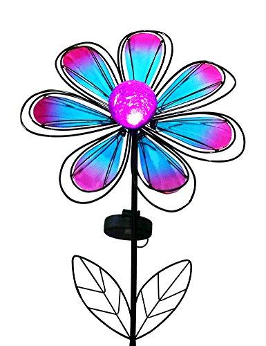"BRIGHT ZEAL 12"" Wide Metal & Glass Flower LED Solar Garde..."