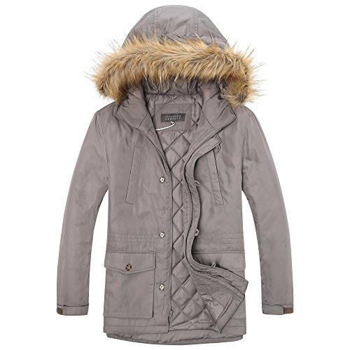 The Plus Project Men's Plus Size Winter Coat with Hood and Removable Faux Fur Trim 2X-Large Khaki
