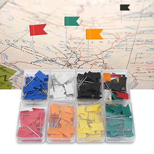 Nikou Map Flag Push Pins Tacks - 160 Piece of Flag Push pins 7 Colorful Flag Shape Map Pins Thumb Tack Drawing Stationery Supplies (Flag Thumb Tacks)
