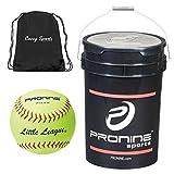 ProNine 10U Softballs In Bucket Bundled With Covey Sports Drawstring Ball Bag (12 Balls, 11 Inch 47 LL 11SC Softball)