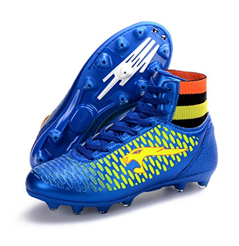 No.66 Town Performance Women's Men's High Top Firm-Ground AG Soccer Cleat Shoes Sneakers Football Shoes Size 8.5/7 Blue
