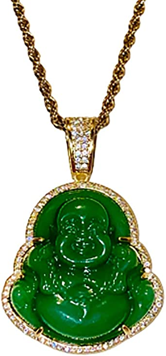 Jade Neckalce Jade Medallion 14k Gold Filled Laughing Jade Buddha Necklace Shop-iGold Laughing Buddha Red Jade Pendant Necklace Rope Chain Genuine Certified Grade A Jadeite Jade Hand Crafted