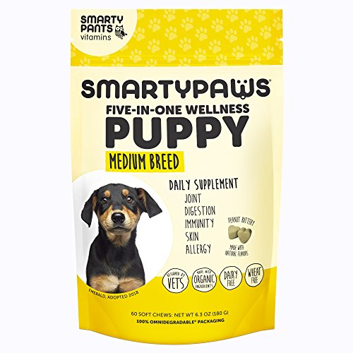 SmartyPaws Dog Supplement Chew- Glucosamine & Chondroitin + MSM for Joint Support, Fish Oil Omega 3 (EPA & DHA), Probiotics, Organic Turmeric: Puppy Medium Breed – by SmartyPants Vitamins – 60 ct Review