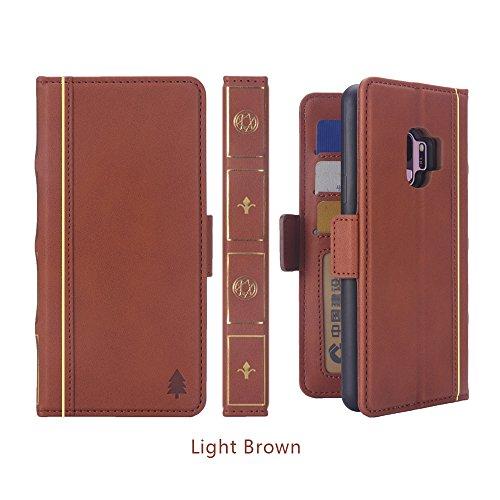 Dfly Galaxy S9 Hülle, [Buch Stil] [Retro Premium PU Leder] Flip Abnehmbare Brieftasche Cover mit [Ständer Funktion] [Kartensteckplätze] [Magnetverschluss] [Free Touch Stift] - (Samsung Galaxy S9, Rot) Braun