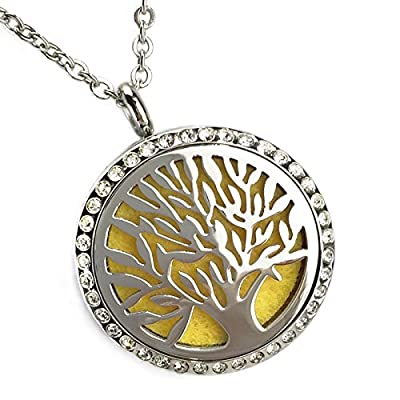 "Sweet Soul Designs Tree of Life Diffuser Necklace with BONUS Adjustable Stainless Steel Chain to 23"" - Crystal Locket Has a Rainbow of Essential Oils Pads! Simple to Use for Relaxation & Stress Relief"