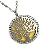 Diffuser Necklace Tree of Life Stainless Steel Pendant for Aromatherapy Essential Oils or Perfume – Best Unique Relaxation or Stress Relief Gift