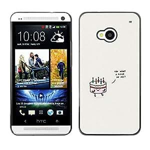 Planetar® ( Cake Birthday Love Grey Minimalist Cute ) HTC One M7 Fundas Cover Cubre Hard Case Cover