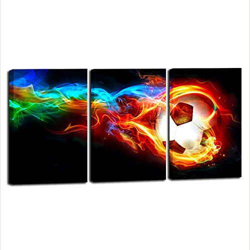 Fire Soccer HD Canvas Print 3 Pieces Painting Wall Art Home Decor Panels Sport Themes Poster For Living Room Children Gift by April Art