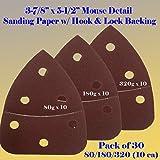 """30 Assorted Mouse Detail Sander Sandpaper Sanding Paper Hook & Loop Assorted 60 80 120 180 240 320 Grits 5.5"""" X 3.875"""" Grit for Black & Decker, Craftsman, Ryobi Cat Mouse, Skil,"""