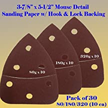 "30 Assorted Mouse Detail Sander Sandpaper Sanding Paper Hook & Loop Assorted 60 80 120 180 240 320 Grits 5.5"" X 3.875"" Grit for Black & Decker, Craftsman, Ryobi Cat Mouse, Skil,"