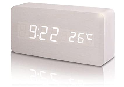 SXWY Despertador (Madera), Despertador Digital Temperatura Tiempo Despertador Multifuncional Brillo Ajustable Despertador De Madera Reloj Consola ...