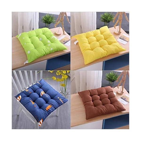 Bledyi, cuscino quadrato, comodo e resistente, per sedie da pranzo, da giardino, 40 x 40 cm Giallo. 4 spesavip